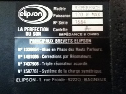 ELIPSON MODELE REFERENCE - FICHE SIGNALETIQUE