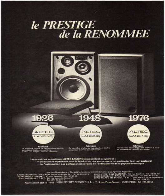 Advertisements from the hifi,Altec lansing