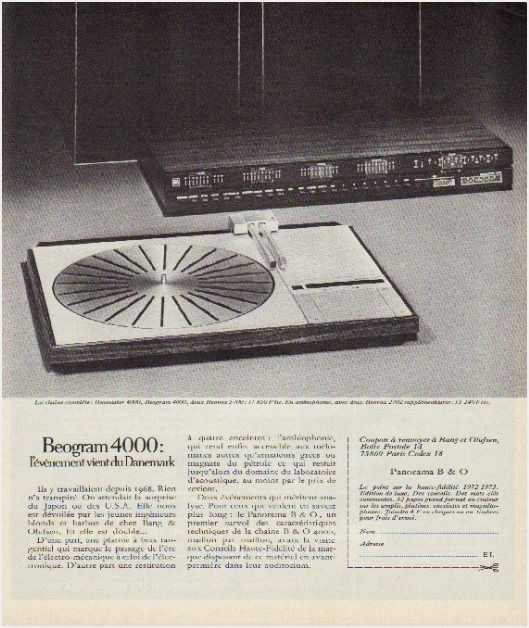 Pages advertising market of the 70 stereo,Bang Olufsen