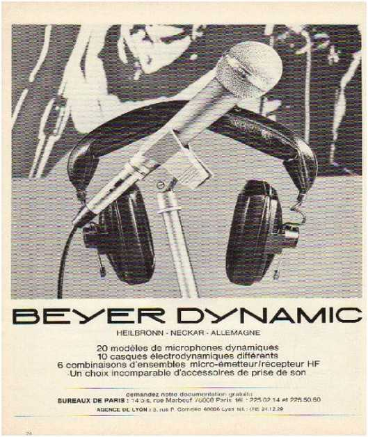 Pages advertising market of the 70 stereo,Beyer