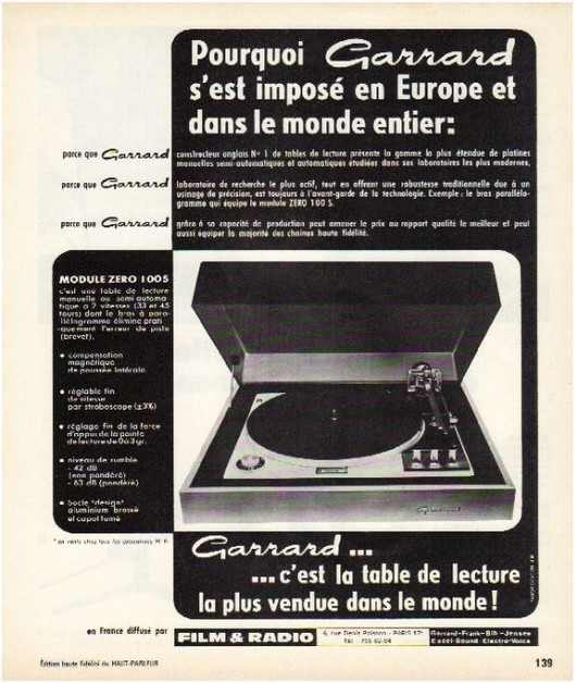 Pages advertising market of the 70 stereo,Garrard