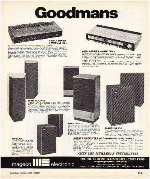 Pages advertising market of the 70 stereo,Goodmans