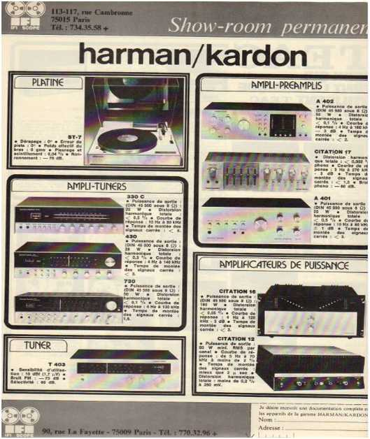 Advertisements from the hifi Harman Kardon
