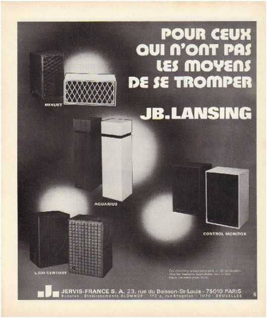 Pages advertising market of the 70 stereo,Jbl