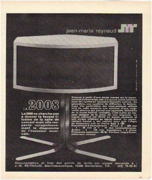 Pages advertising market of the 70 stereo,Jean Marie Raynaud