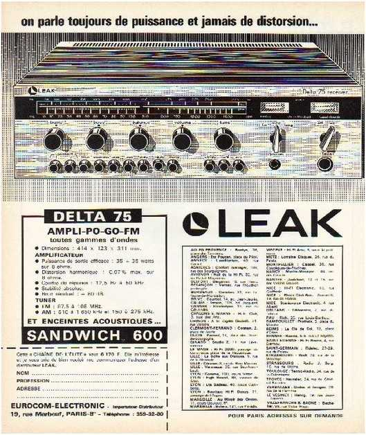 Pages advertising market of the 70 stereo,Leak