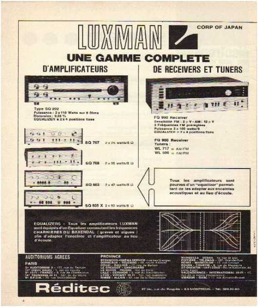 Pages advertising market of the 70 stereo,Luxman