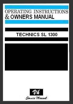 OWNERS MANUAL TECHNICS SL 1300