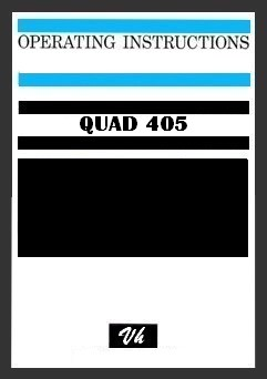 OWNERS MANUAL OF QUAD 405-1