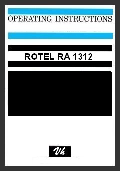 OWNERS MANUAL OF ROTEL RA 1312