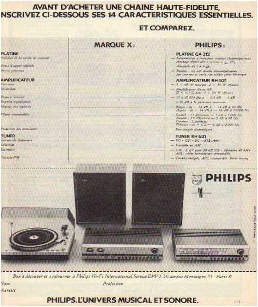 Pages advertising market of the 70 stereo,Philips