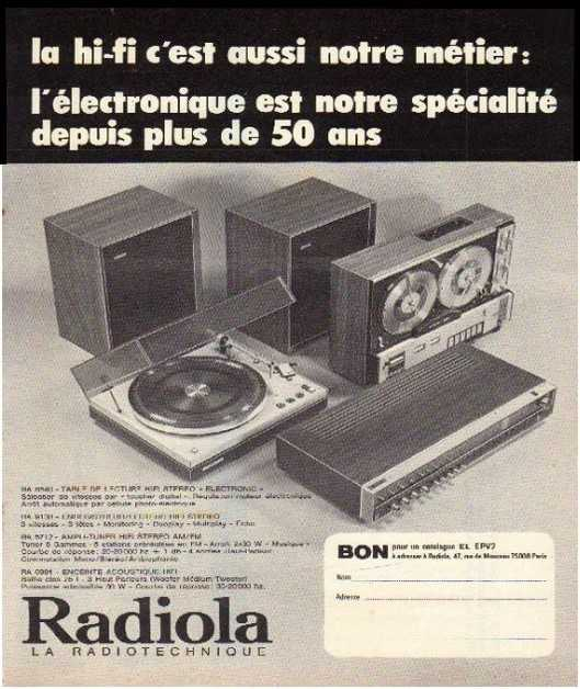 Pages advertising market of the 70 stereo,Radiola