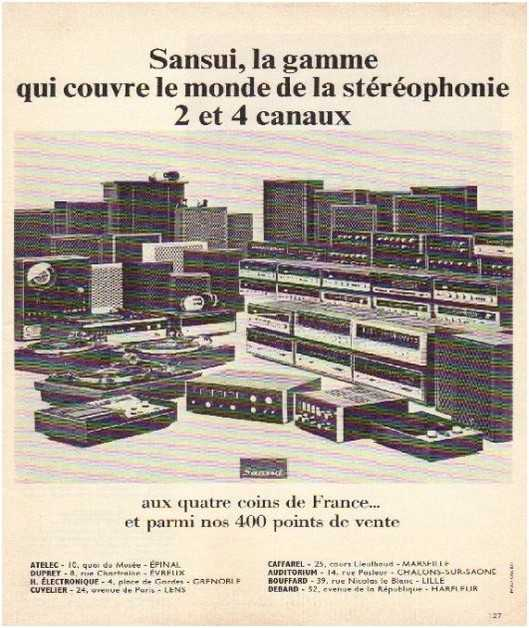 Pages advertising market of the 70 stereo,Sansui