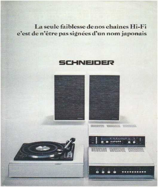 Pages advertising market of the 70 stereo,Schneider