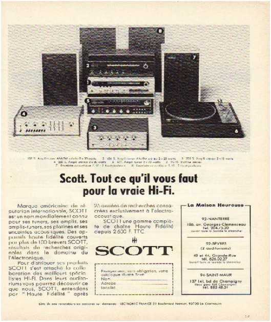 Pages advertising market of the 70 stereo,Scott