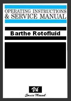 SERVICE MANUAL BARTHE ROTOFLUID