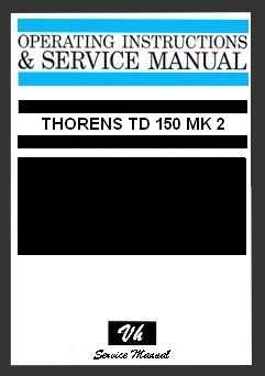 SERVICE MANUAL THORENS TD 150 MK2
