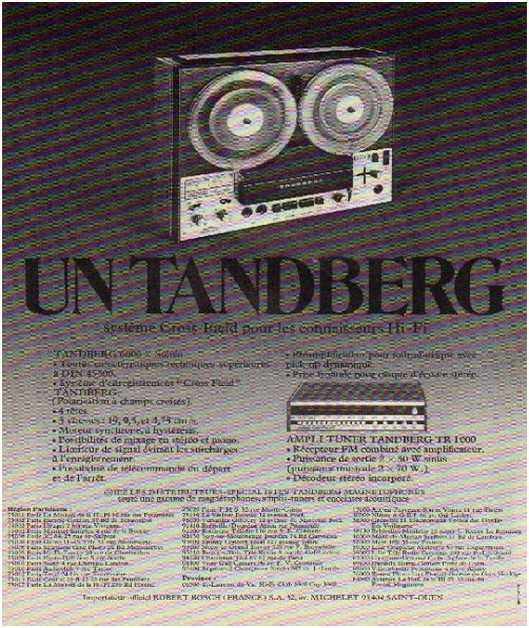 Pages advertising market of the 70 stereo,Tandberg